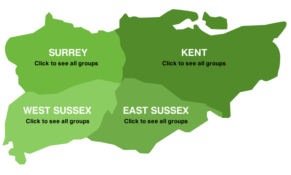 Map of the South East Counties: Surrey, Kent, West and East Sussex